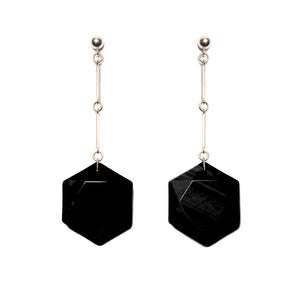 Hexagonal Onyx & Sterling Silver Earrings