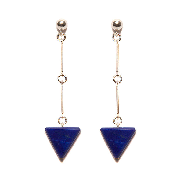 Lapis Lazuli Prism & Sterling Silver Earrings