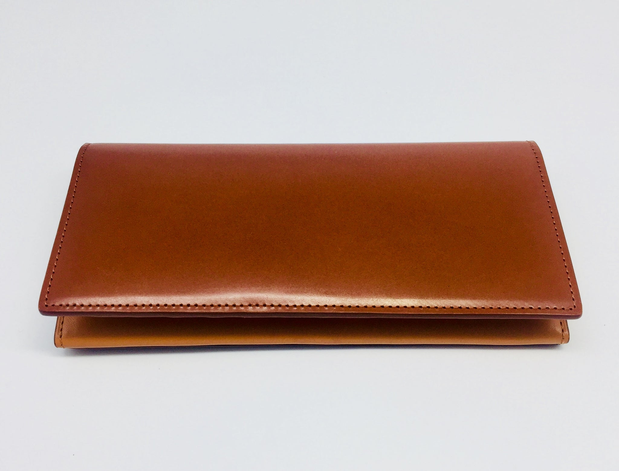 Leather Long Bi-Fold Wallet - Chestnut