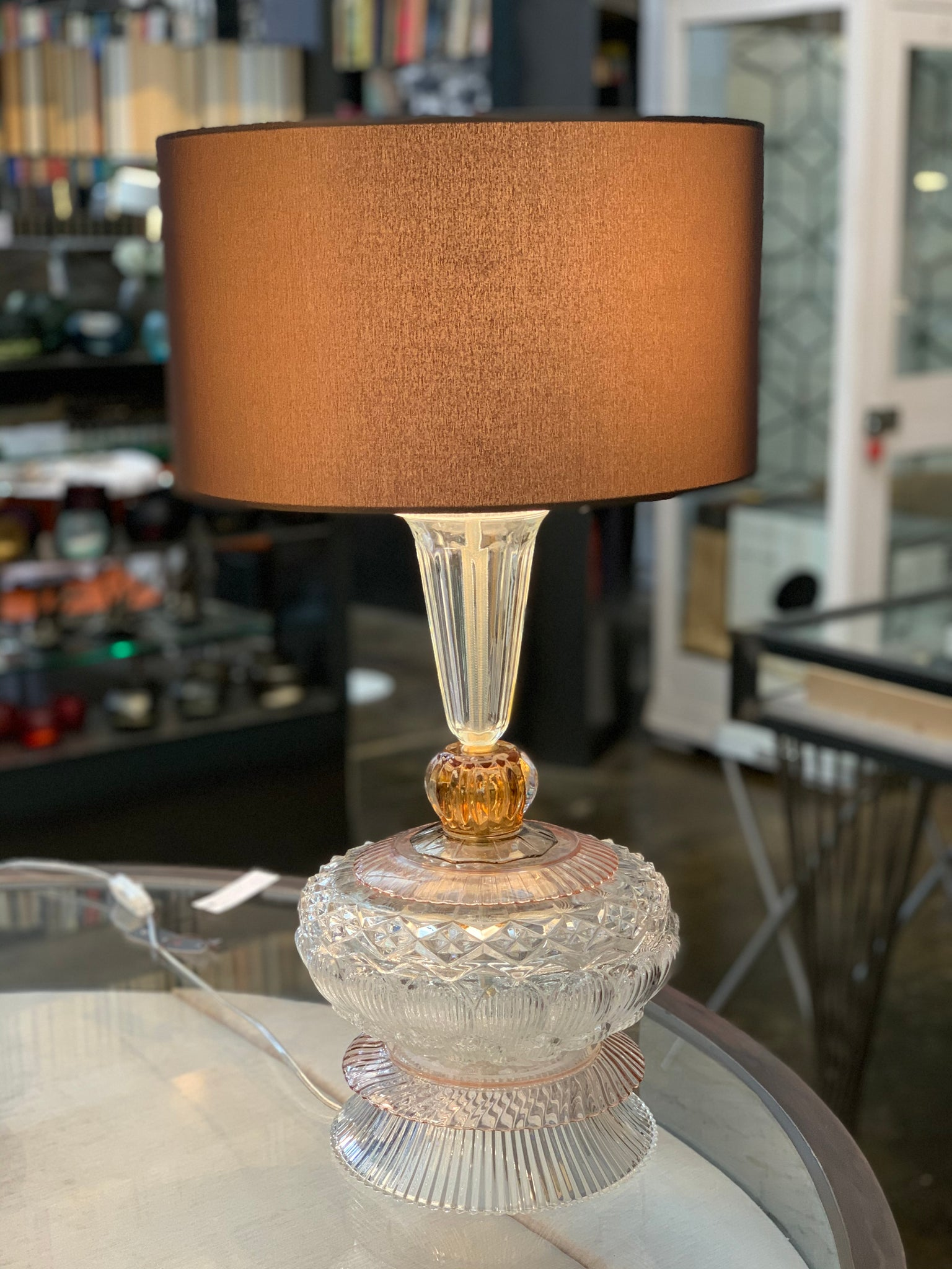 Glass Table Lamp, brown