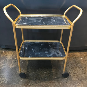 2 Tier Gallery Trolley With Fixed Trays, Black Marble/ Gold