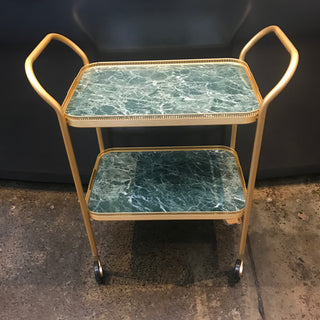 2 Tier Gallery Trolley With Fixed Trays, GREEN MARBLE/GOLD