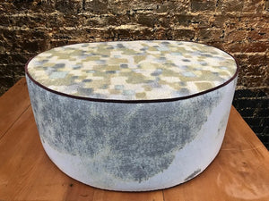 Ottoman - Large Pebble - Kaleidoscope Tan and Whitewash (top & sides)