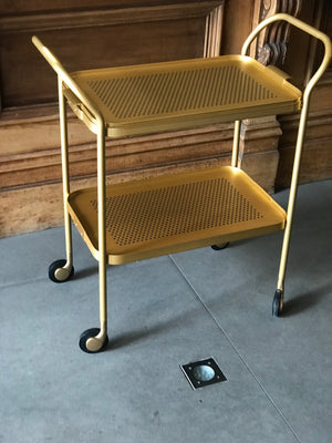 2 Tier Trolley with Removeable Top Tray & Rubber Grip, GOLD