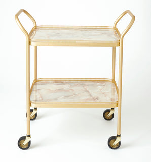 2 Tier Gallery Trolley With Fixed Trays, ONYX/GOLD