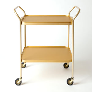 2 Tier Ribbed Trolley with Removable Tray, GOLD