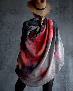 Linen Scarf, Poppy - Red