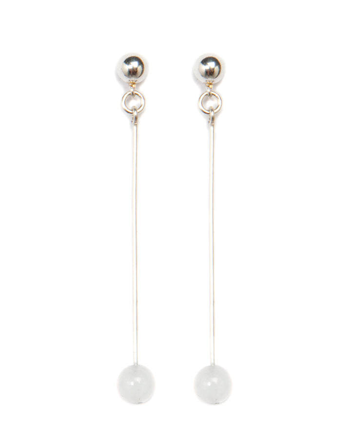"""Petite Orb"" Small Clear Quartz Spheres on Sterling Sliver Drop & Stud Earrings"