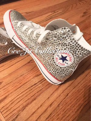 Wedding Converse, High Top Converse, Bridal Converse, Bling Converse, Stoned Converse, Diamond Converse, Quince Shoes