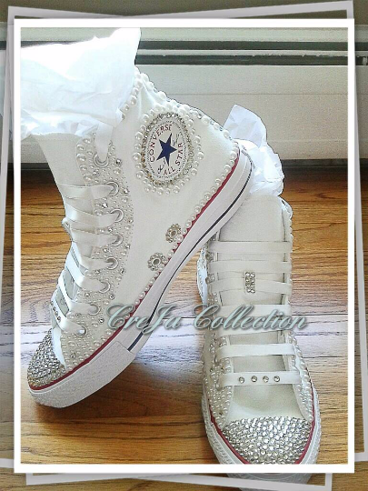 WEDDING CONVERSE, LESS STYLE, PEARL CONVERSE, HIGH TOP CONVERSE, CUSTOM HIGH TOP CONVERSE