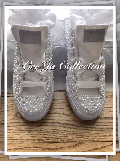 CUSTOM PEARL TOE CONVERSE, WEDDING CONVERSE