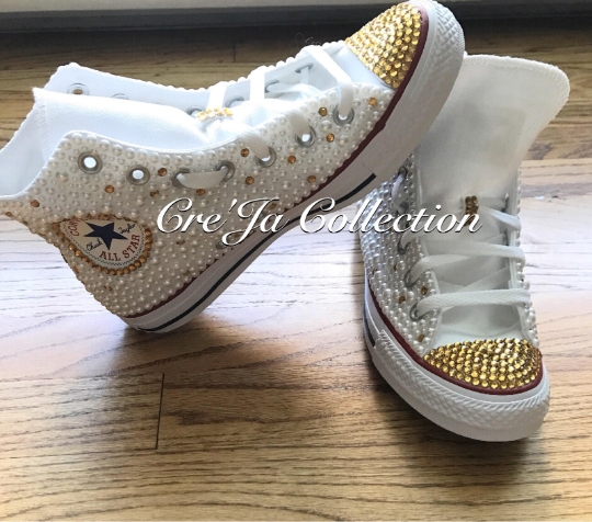 Pearl Converse, Pink Converse, High Top Custom Converse, Diamonds and Pearls Converse, Beaded Converse