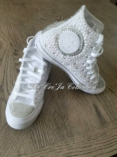 Wedding high top converse, wedding converse, wedding chucks, wedding shoes, pearl chucks, bling chucks, pearl converse