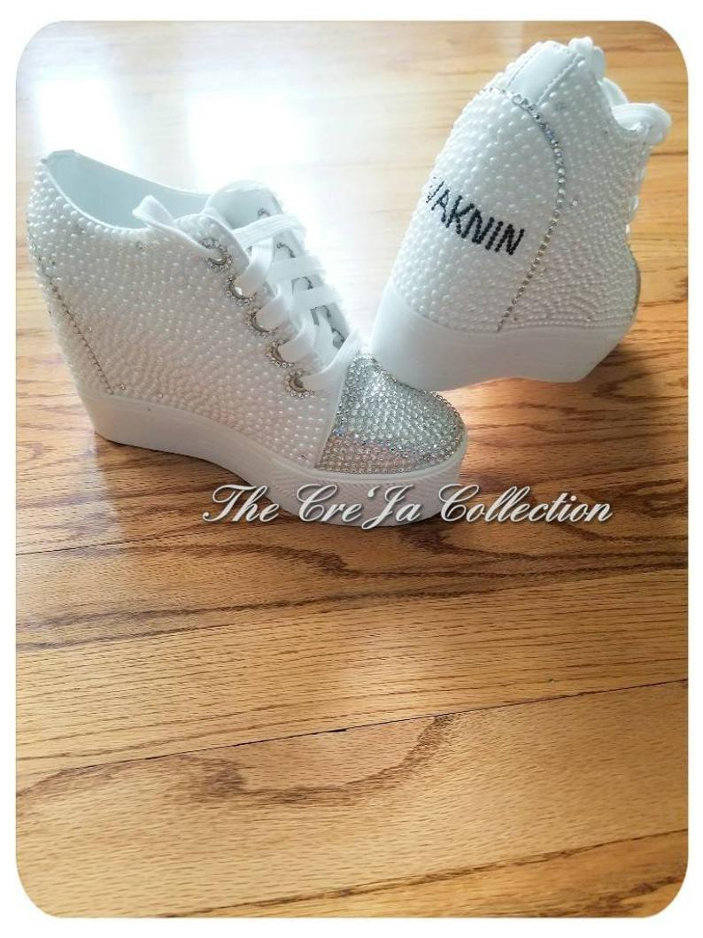 3fec48fe3b52d BRIDAL/WEDDING PEARL BLING WEDGE – The Cre'Ja Collection