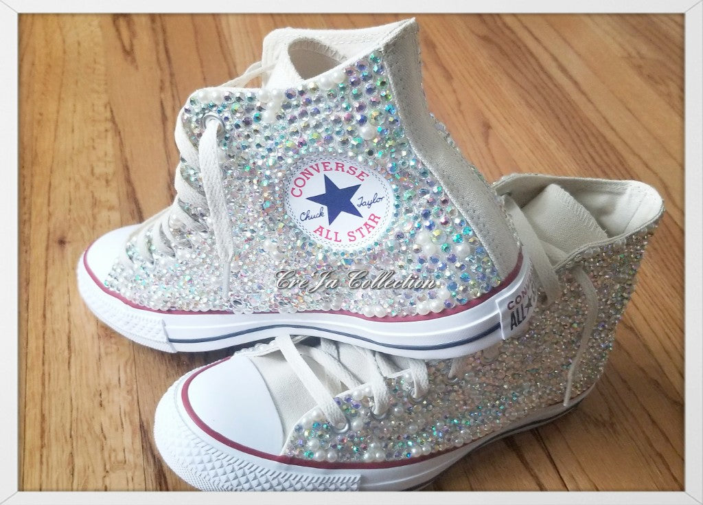 Cream hightop Rhinestone Converse
