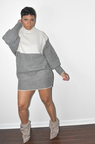 Color Block Turtle Neck Sweater Dress