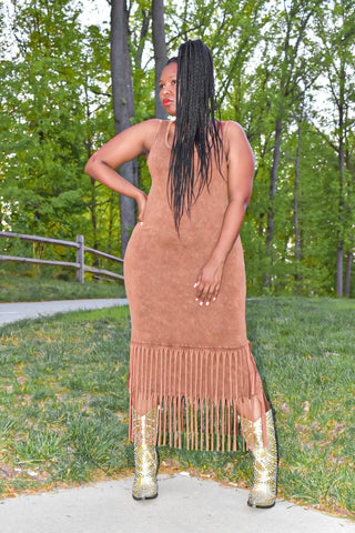 Camel Sleeveless Dress with Fringe