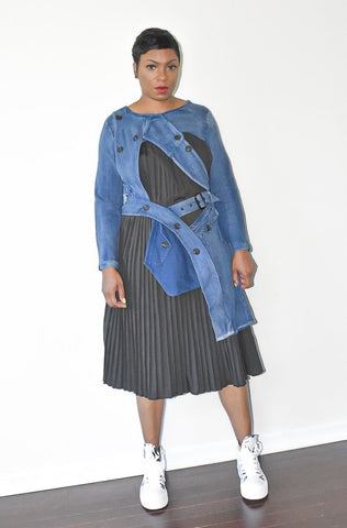 Denim Pleated Irregular Dress