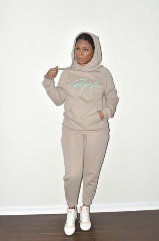 Khaki Side Tie Hooded Sweatsuit