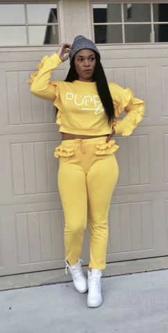 POPPIN Yellow Ruffled Sweat Set