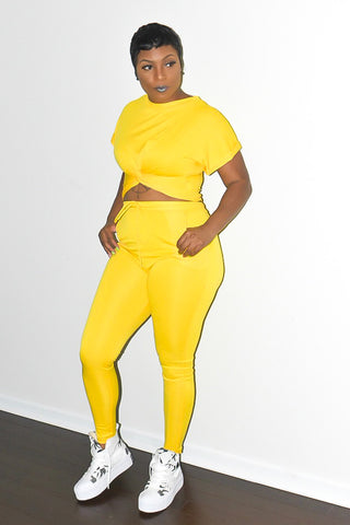 POPPIN Yellow Cross Detail Crop and Pants Set
