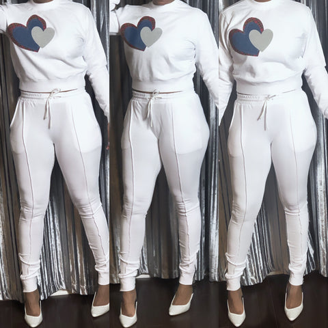 """I Make the Statement"" White Patched Heart Jogger Set"