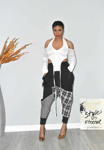Patchwork Plaid Harem Pants