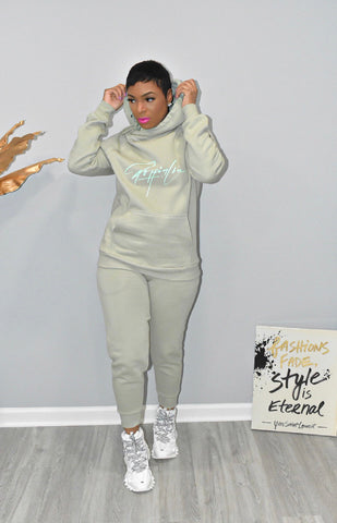 Sage Side Tie Hooded Sweatsuit