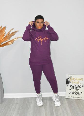 Plum Side Tie Hooded Sweatsuit
