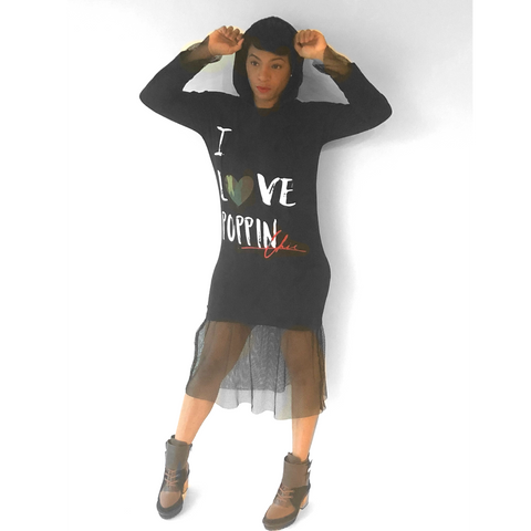 "I ""LOVE POPPIN Chic"" Hooded Dress with Mesh Detail"