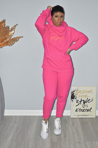 Fuchsia Side Tie Hooded Sweatsuit