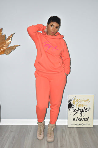 Tangerine Side Tie Hooded Sweatsuit