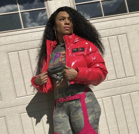 POPPIN Red Vinyl Cropped Puffer Coat