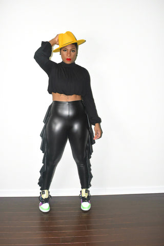 POPPIN High Neck and Ruffled Patent Pants Set
