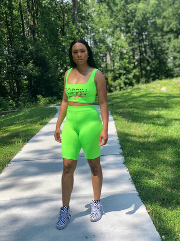 Neon Green POPPIN Biker Short Set