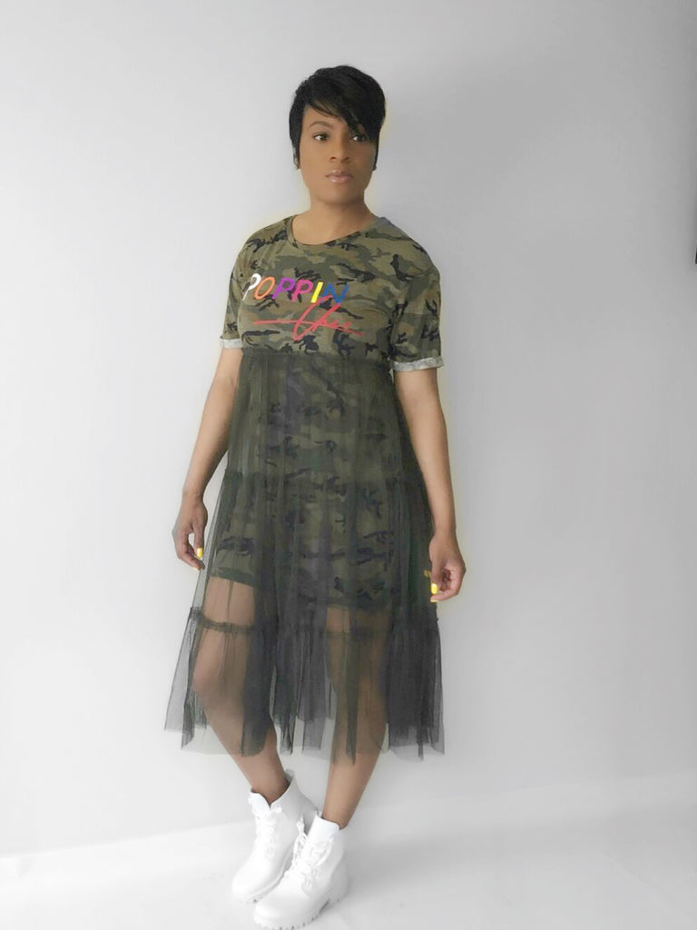 2020 buy cheap new products for POPPIN Camo T-Shirt Dress with Tulle