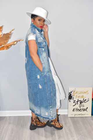 Sleeveless Denim Trench Jacket