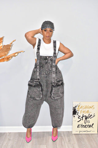 Black Stoned Overall Jumper