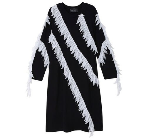 POPPIN Feathered Ruffles Sweater Dress