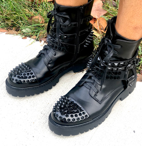 POPPIN Spiked Combat Boots