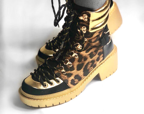 POPPIN Leopard Combat Boots
