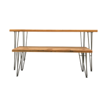 Load image into Gallery viewer, Reclaimed Wood Table & Bench Set with Hairpin Legs