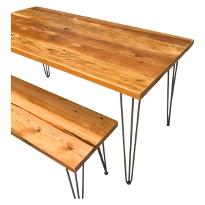 Reclaimed Wood Table & Bench Set with Hairpin Legs
