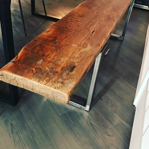Old Growth Reclaimed Wood Bench with Steel U-Shaped Legs