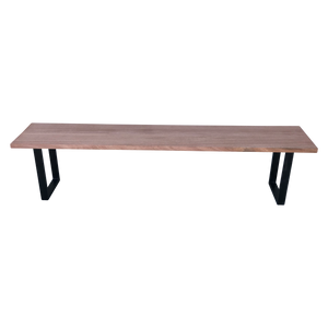 African Mahogany Bench with Steel U-Shaped Legs