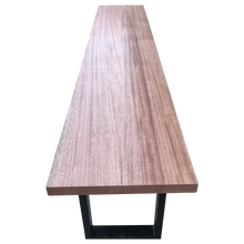 Load image into Gallery viewer, African Mahogany Bench with Steel U-Shaped Legs