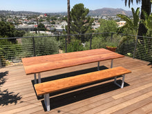 Load image into Gallery viewer, Reclaimed Wood Bench with U-Shaped Steel Legs