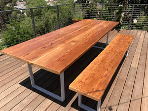Reclaimed Wood Table & Bench Set with Steel U-Shaped Legs
