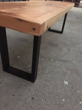 Reclaimed Wood Bench with U-Shaped Steel Legs