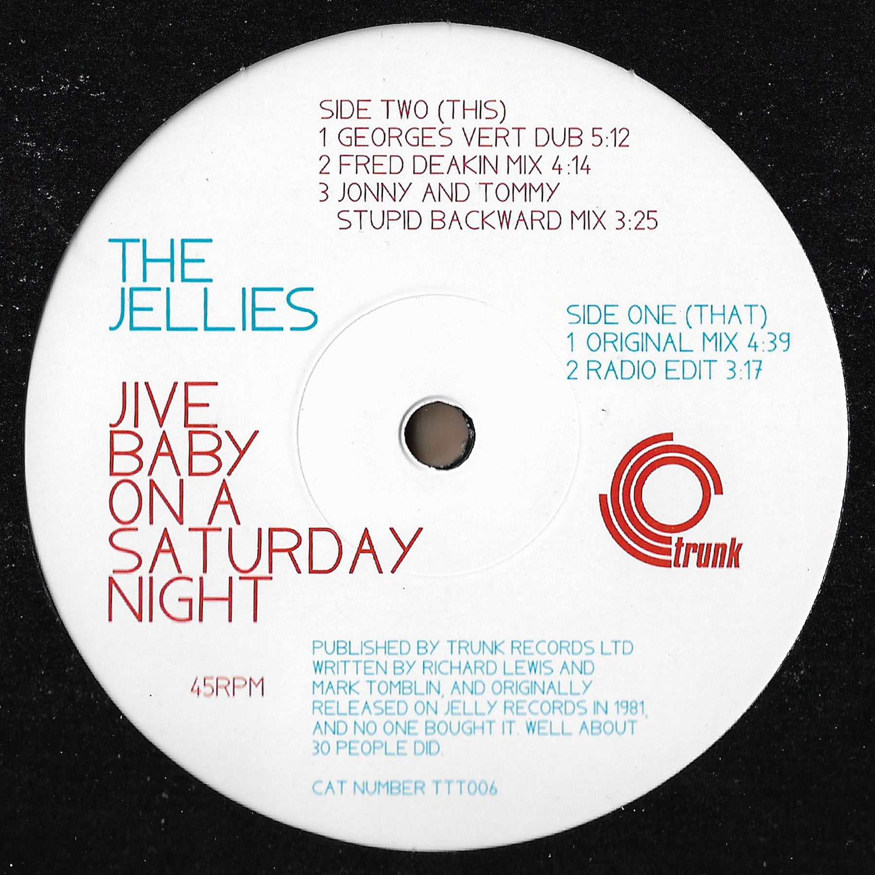 The Jellies - Jive Baby On A Saturday Night